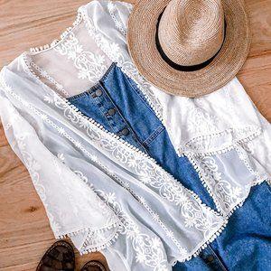 boho white lace kimono 🕊🌞